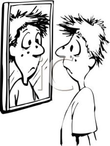 0511-0902-0418-3909_Black_and_White_Cartoon_of_a_Kid_Looking_at_His_Pimples_in_a_Mirror_clipart_image